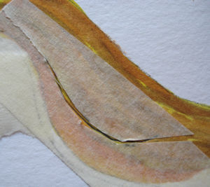 Cut tape re-positioned over painting